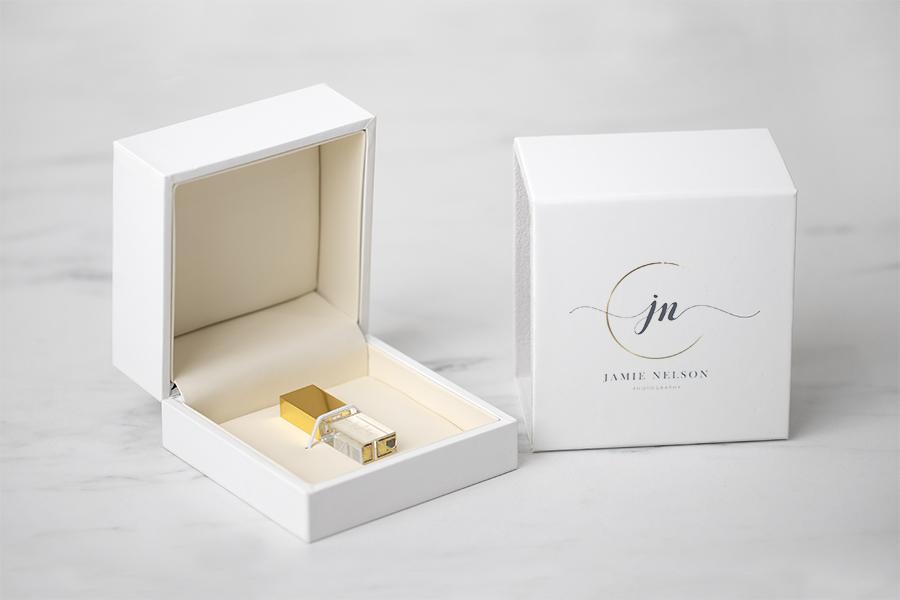 White Soft Touch USB Box