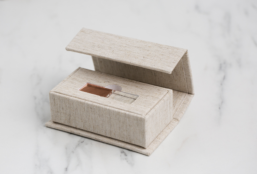 Crystal Flash Drive and Luxe Fabric USB box